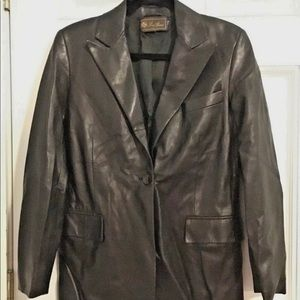 EUC Loro Piana Black Leather Women's Blazer